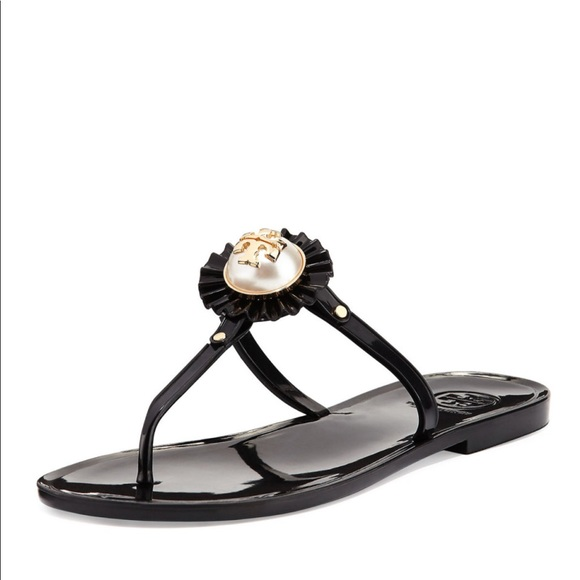 19821fd188bc Tory Burch melody pearl black jelly sandals 8. M 5c394c9d951996170af59ad6